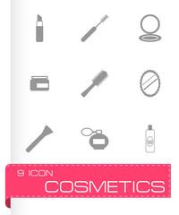 Vector black cosmetics eyes icons set