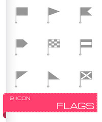 Vector black flags icons set