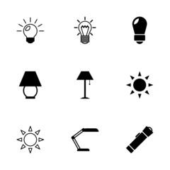 Vector black light icons set