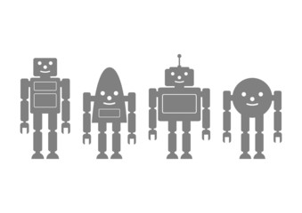 Grey robot icons on white background