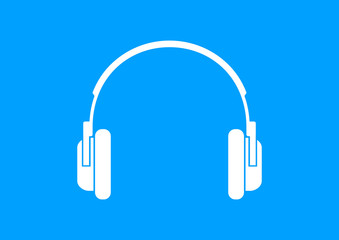 White headphones icon on blue background