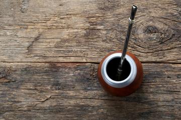 Mate tea on wooden table
