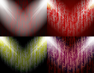 set of abstract colored background spotlights with place for