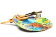 Leinwandbild Motiv Art palette with paint and a brush on white background