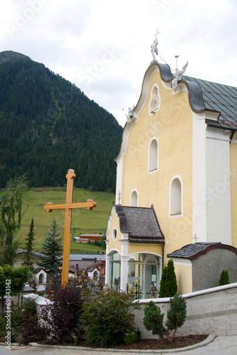 canvas print picture Pfarrkirche zum Hl. St. Nikolaus - Ischgl - Alpen