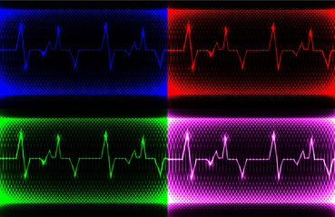 set Colorful human heart normal sinus rhythm, electrocardiogram