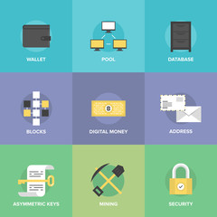 Cryptocurrency and digital money flat icons