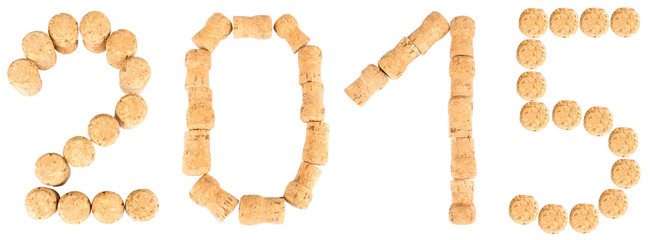 Inscription '2015' from the wine corks