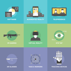 Virtual reality flat icons