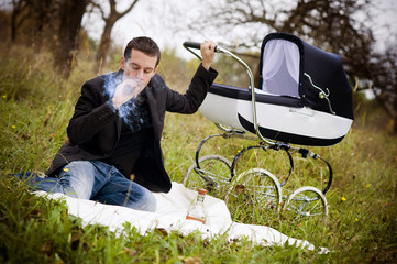Father with vintage pram