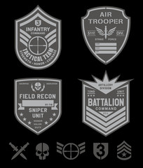 Special forces emblem patch set