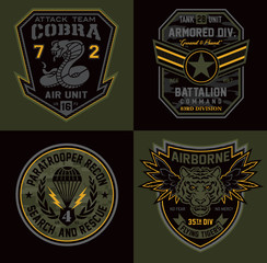 Special unit military patch emblems