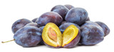 purple plums isolated on the white background
