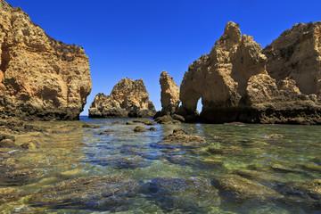 Cliffs in Ponta da Piedade near Lagos, Algarve, Portugal.