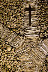 Skull and bones in the Chapel of Bones in Evora, Portugal
