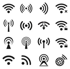 Set of twenty wifi icons