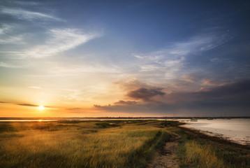 Beautful Summer evening landscape over wetlands and harbour