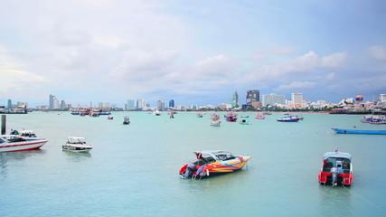 ships in bay of Pattaya, Thailand