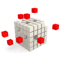 Cube red and white
