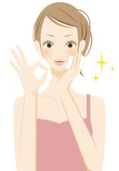 美容 スキンケアをする笑顔の女性