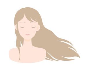 女性 目を閉じる 白背景