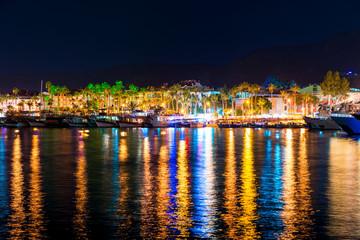 night tourist town of the Mediterranean coast