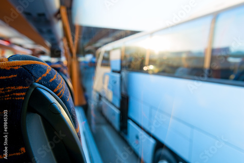 view of the tourist bus through the window - 69845303