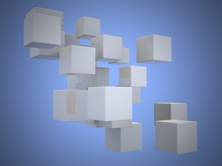 Abstract geometric shapes from cubes - 3d render.