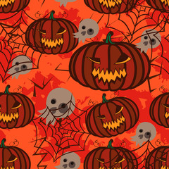 Seamless orange background with pumpkins for Halloween.