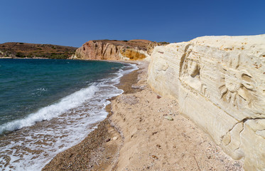 Carved figures in Kalamitsi beach, Kimolos island, Greece