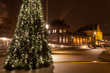 Christamas tree in city near the railway station