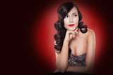 vintage pin up brunette woman with hairstyle