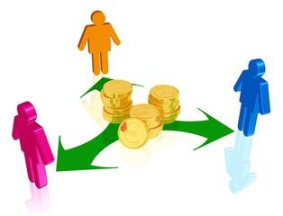 Ausschüttung, Verteilung von Geld