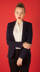 business woman in red lipstick