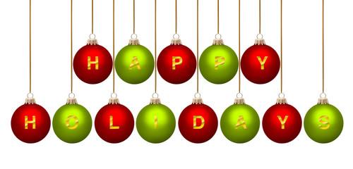 Weihnachtskugeln Happy Holidays