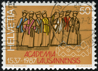 stamp printed in Switzerland showing Lausanne Academy