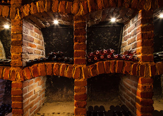 Detail of wine cellar