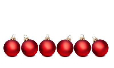 Sechs Rote Weihnachtskugeln