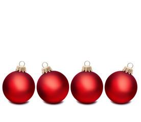 Vier Rote Weihnachtskugeln