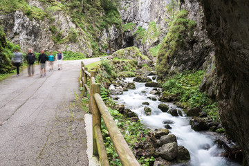 walking through the gorges of Sottoguda, Dolomites