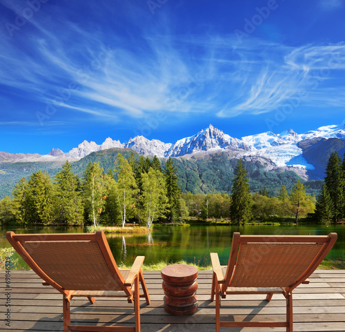canvas print picture City park in the Alpine resort