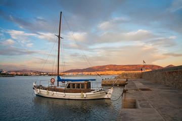 Boat anchored in Mikrolimano marina in Piraeus, Athens.
