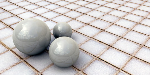 white spheres on tiled floor