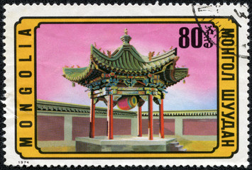 stamp printed by Mongolia, shows Eastern Architecture