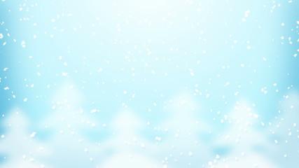 snowfall and fir trees loop