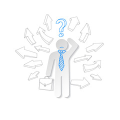 Paper man, arrow and question mark. Business concept.