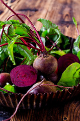 Fresh beets on a wooden table