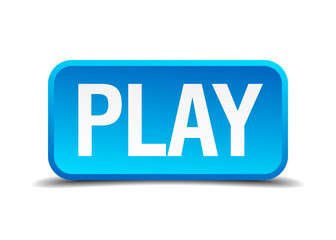 Play blue 3d realistic square isolated button
