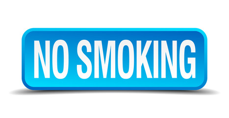 no smoking blue 3d realistic square isolated button