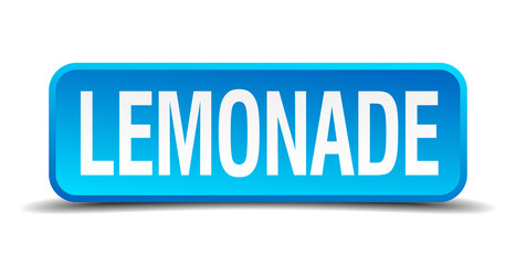 Lemonade blue 3d realistic square isolated button